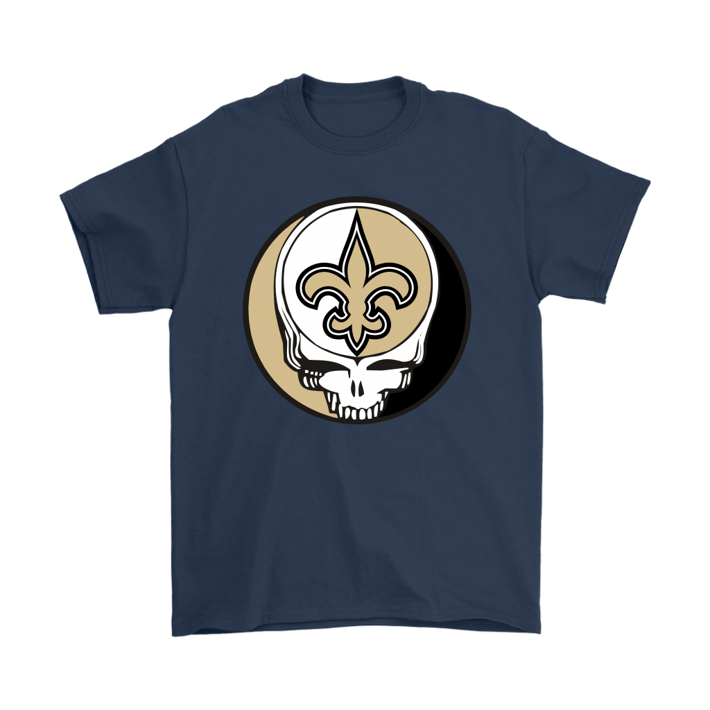 NFL - New Orleans Saints Grateful Dead Steal Your Face Football NFL Shirts-T-shirt-Gildan Mens T-Shirt-Navy-S-Itees Global