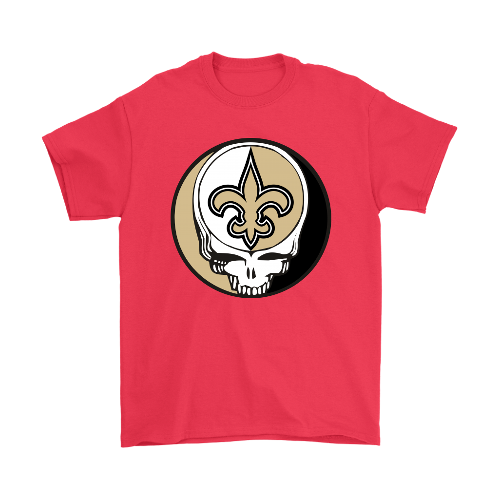 NFL - New Orleans Saints Grateful Dead Steal Your Face Football NFL Shirts-T-shirt-Gildan Mens T-Shirt-Red-S-Itees Global