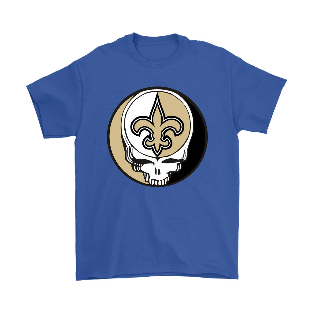NFL - New Orleans Saints Grateful Dead Steal Your Face Football NFL Shirts-T-shirt-Gildan Mens T-Shirt-Royal Blue-S-Itees Global