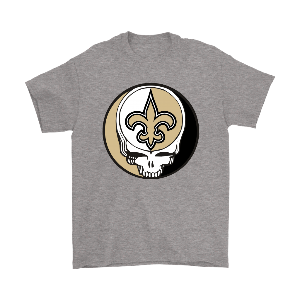NFL - New Orleans Saints Grateful Dead Steal Your Face Football NFL Shirts-T-shirt-Gildan Mens T-Shirt-Sport Grey-S-Itees Global