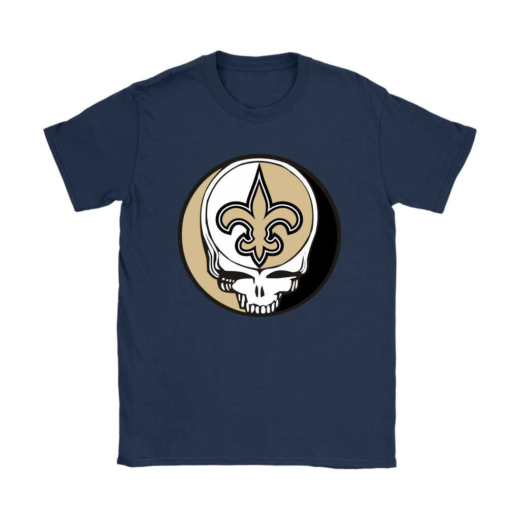 NFL - New Orleans Saints Grateful Dead Steal Your Face Football NFL Shirts-T-shirt-Gildan Womens T-Shirt-Navy-S-Itees Global