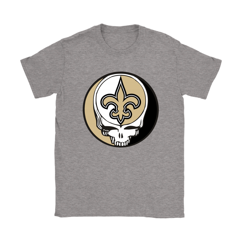 NFL - New Orleans Saints Grateful Dead Steal Your Face Football NFL Shirts-T-shirt-Gildan Womens T-Shirt-Sport Grey-S-Itees Global