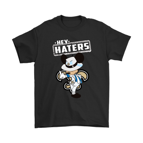 NFL - New Orleans Saints Hey Haters Mickey Mouse Shirts-T-shirt-Gildan Mens T-Shirt-Black-S-Itees Global