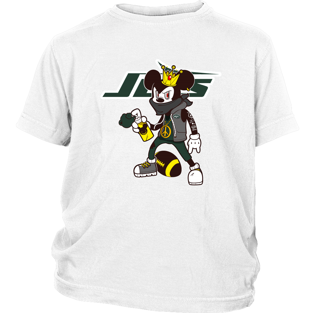 4b0b584cdd096 NFL - New York Jets Mickey Mouse Is Wearing A Peace Necklace Disney NFL  Football Shirt