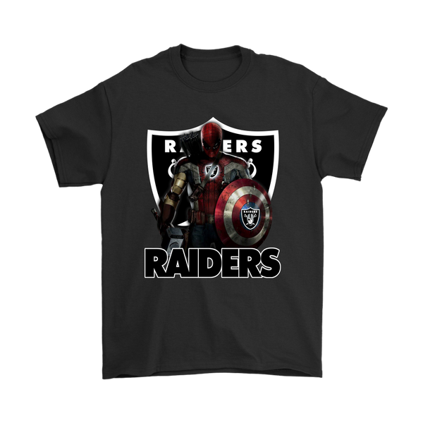 NFL – Oakland Raiders Thor Captain America Spiderman Shirts-T-shirt-Gildan Mens T-Shirt-Black-S-Itees Global