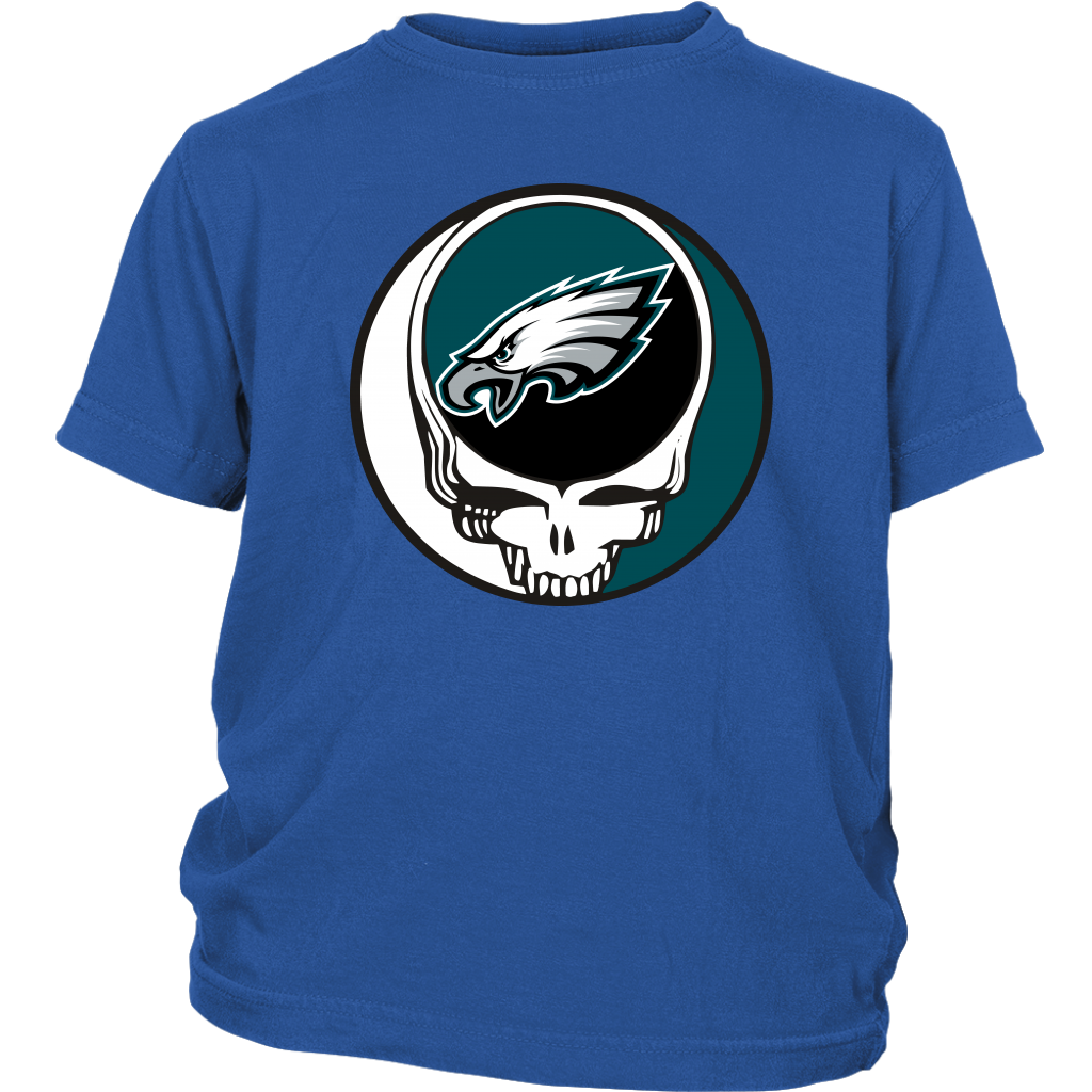 NFL - Philadelphia Eagles Grateful Dead Steal Your Face Football NFL Shirts-T-shirt-District Youth Shirt-Royal Blue-XS-Itees Global