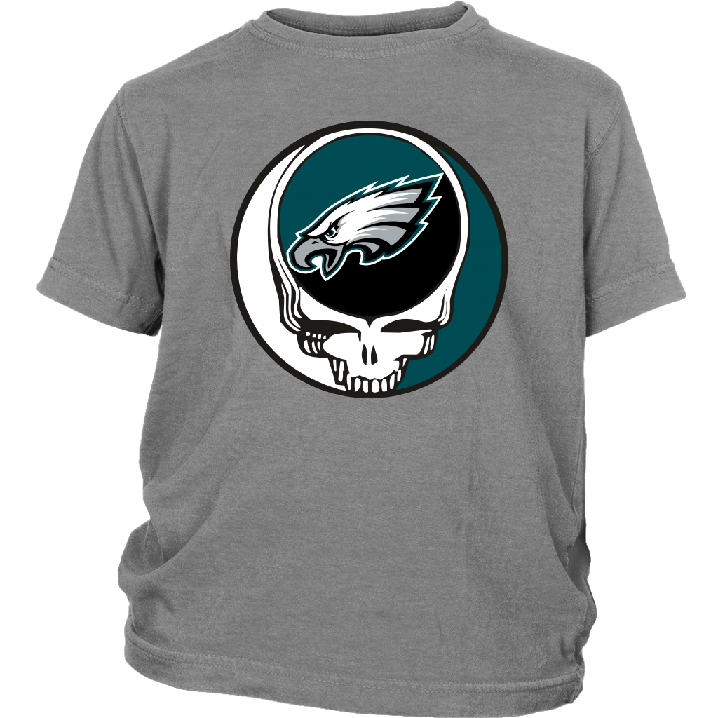 NFL - Philadelphia Eagles Grateful Dead Steal Your Face Football NFL Shirts-T-shirt-District Youth Shirt-Sport Grey-XS-Itees Global