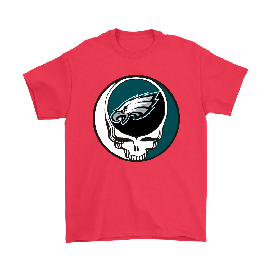 NFL - Philadelphia Eagles Grateful Dead Steal Your Face Football NFL Shirts-T-shirt-Gildan Mens T-Shirt-Red-S-Itees Global