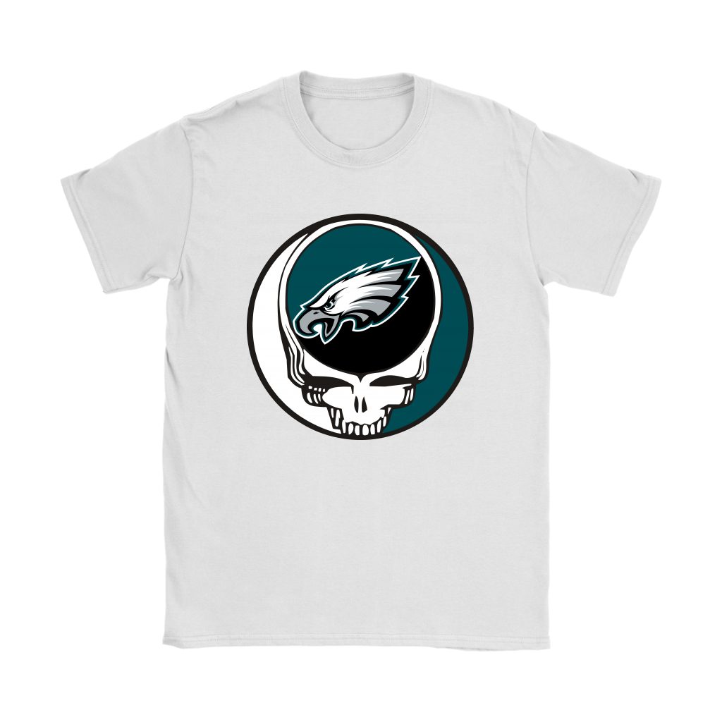NFL - Philadelphia Eagles Grateful Dead Steal Your Face Football NFL Shirts-T-shirt-Gildan Womens T-Shirt-White-S-Itees Global
