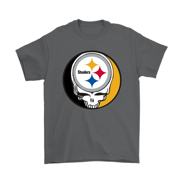 NFL - Pittsburgh Steelers Grateful Dead Steal Your Face Football NFL Shirts-T-shirt-Gildan Mens T-Shirt-Charcoal-S-Itees Global