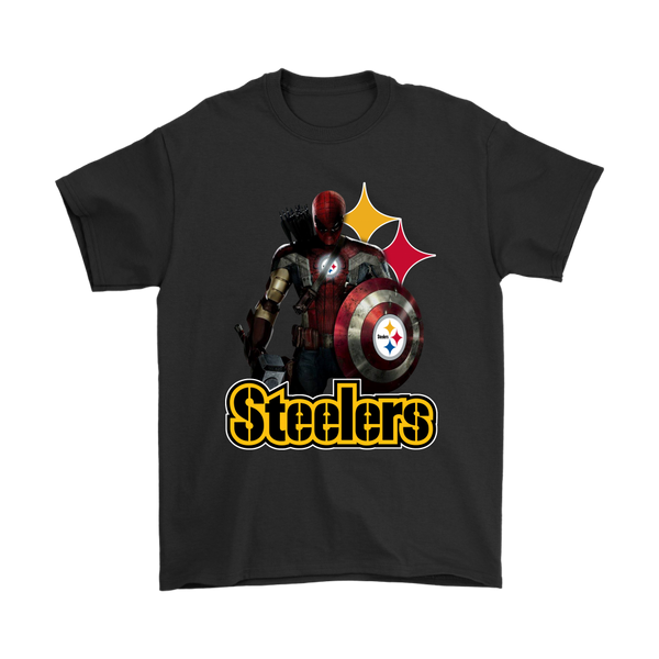 NFL – Pittsburgh Steelers Thor Captain America Spiderman Shirts-T-shirt-Gildan Mens T-Shirt-Black-S-Itees Global