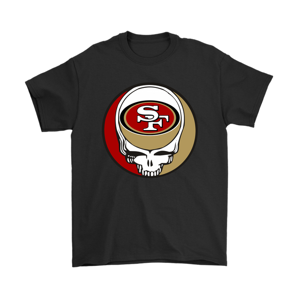 NFL - San Francisco 49ers Grateful Dead Steal Your Face Football NFL Shirts-T-shirt-Gildan Mens T-Shirt-Black-S-Itees Global
