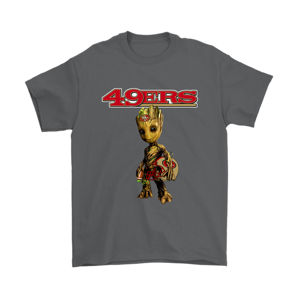 NFL - San Francisco 49ers Guardians Of The Galaxy Groot NFL Football Shirts-T-shirt-Gildan Mens T-Shirt-Charcoal-S-Itees Global