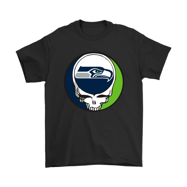 NFL - Seattle Seahawks Grateful Dead Steal Your Face Football NFL Shirts-T-shirt-Gildan Mens T-Shirt-Black-S-Itees Global