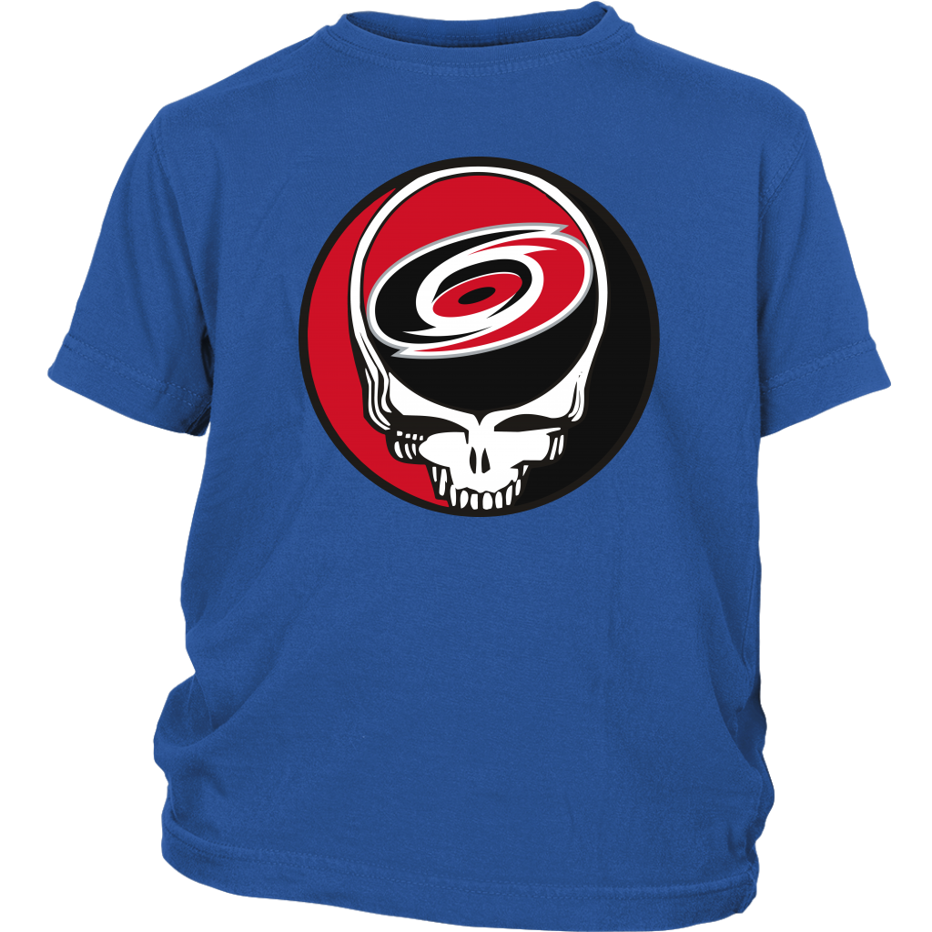 NHL - Carolina Hurricanes Grateful Dead Steal Your Face Hockey NHL Shirts-T-shirt-District Youth Shirt-Royal Blue-XS-Itees Global