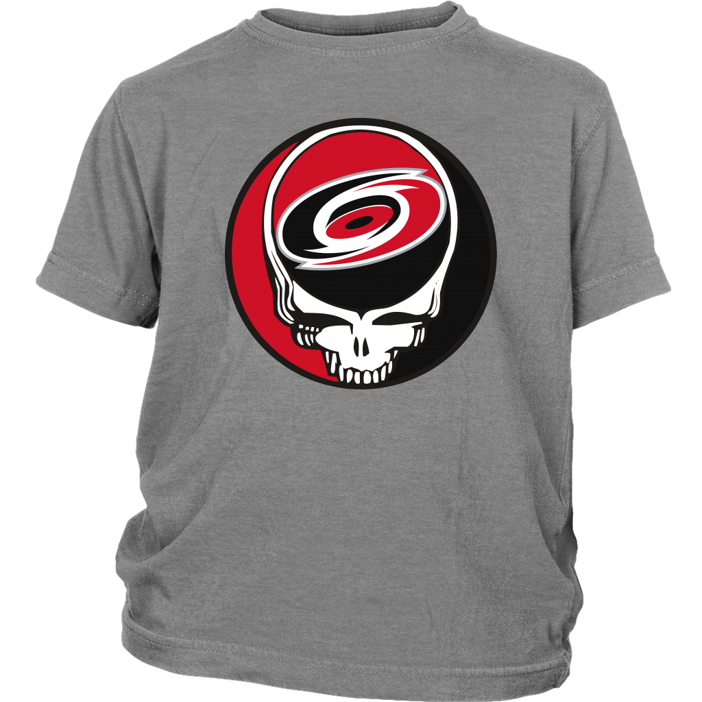 NHL - Carolina Hurricanes Grateful Dead Steal Your Face Hockey NHL Shirts-T-shirt-District Youth Shirt-Sport Grey-XS-Itees Global