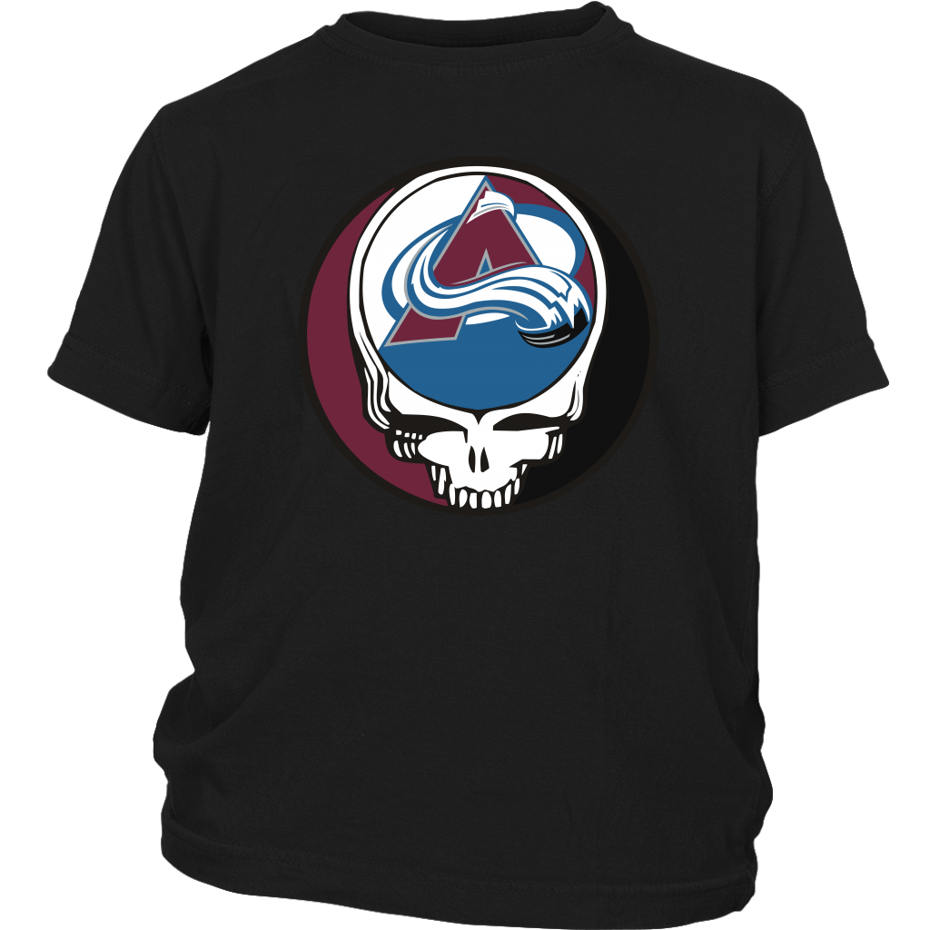 NHL - Colorado Avalanche Grateful Dead Steal Your Face Hockey NHL Shirts-T-shirt-District Youth Shirt-Black-XS-Itees Global