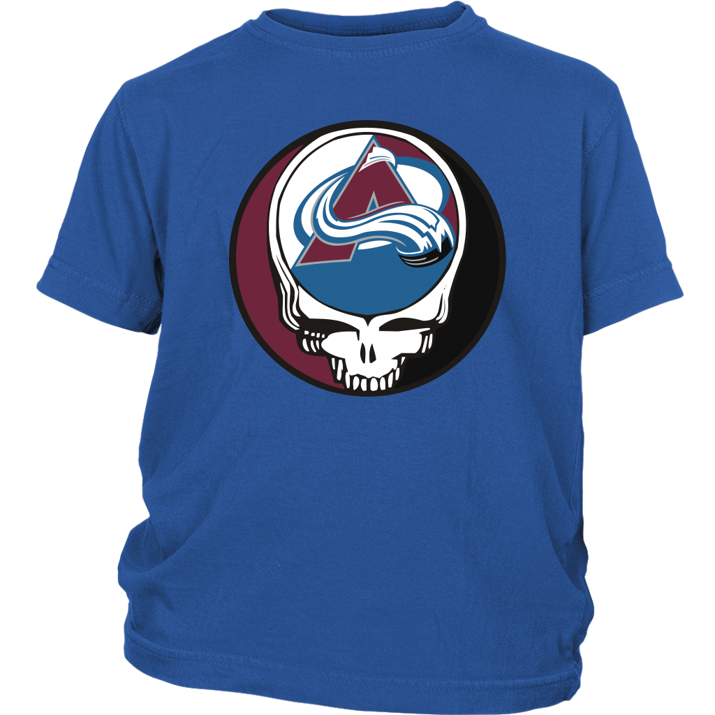 NHL - Colorado Avalanche Grateful Dead Steal Your Face Hockey NHL Shirts-T-shirt-District Youth Shirt-Royal Blue-XS-Itees Global