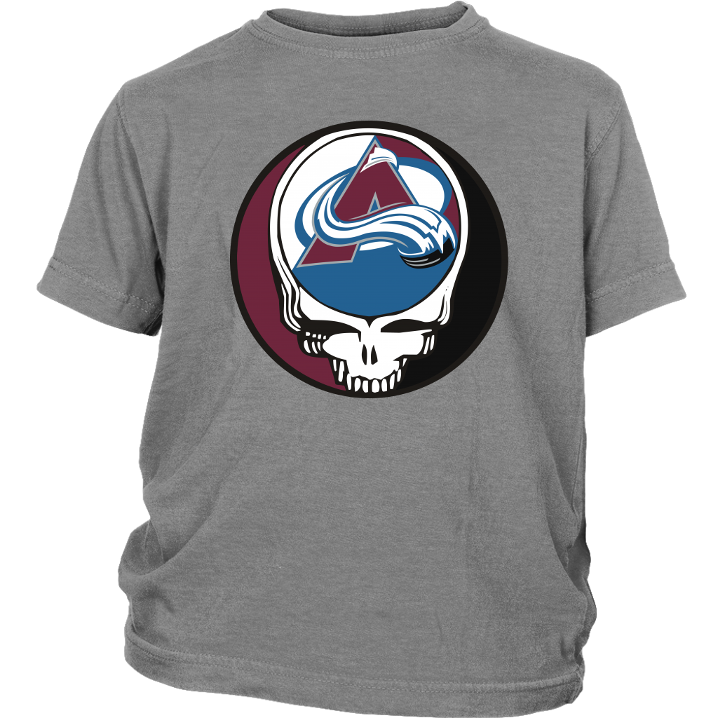 NHL - Colorado Avalanche Grateful Dead Steal Your Face Hockey NHL Shirts-T-shirt-District Youth Shirt-Sport Grey-XS-Itees Global