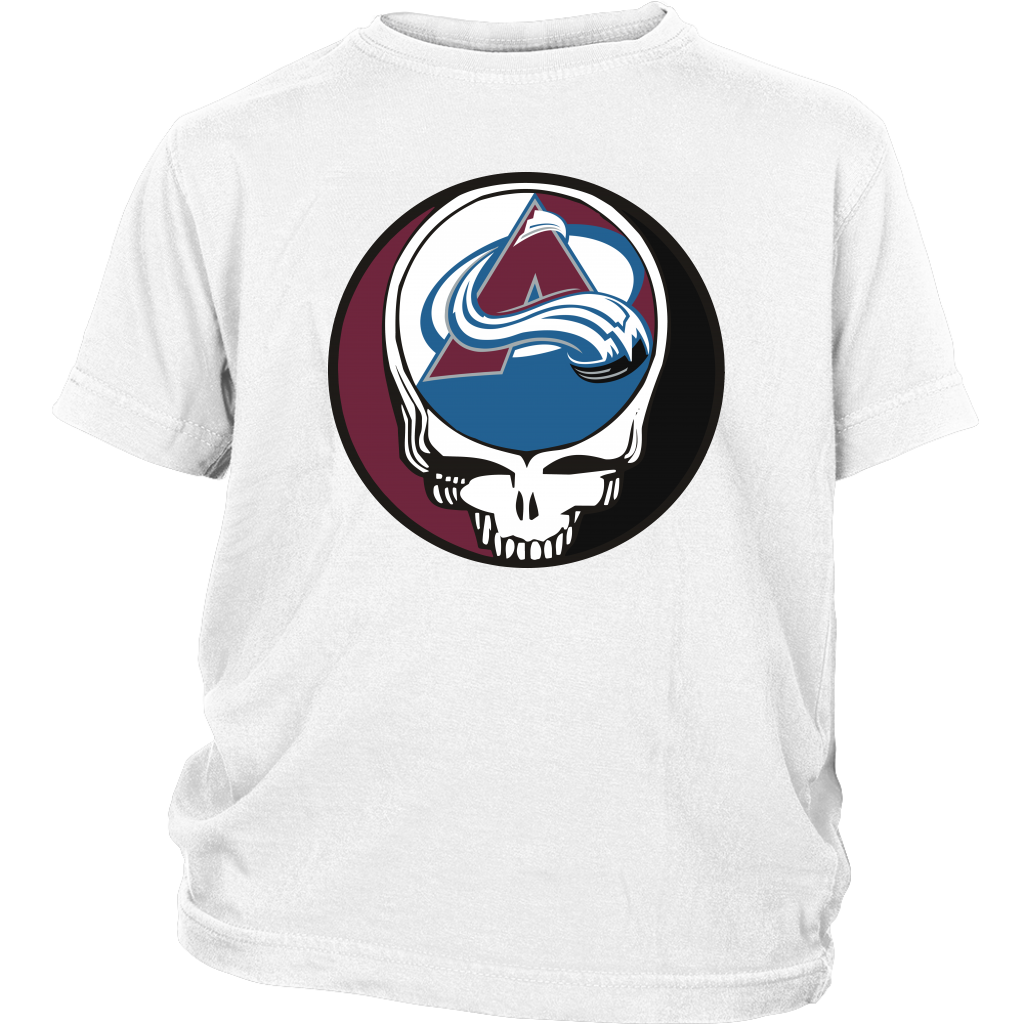 NHL - Colorado Avalanche Grateful Dead Steal Your Face Hockey NHL Shirts-T-shirt-District Youth Shirt-White-XS-Itees Global