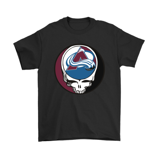 NHL - Colorado Avalanche Grateful Dead Steal Your Face Hockey NHL Shirts-T-shirt-Gildan Mens T-Shirt-Black-S-Itees Global
