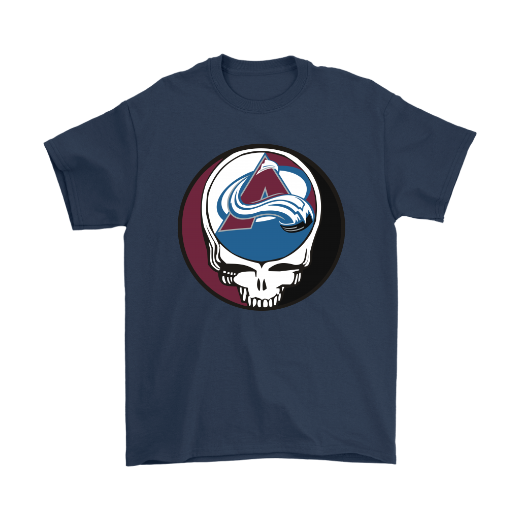 NHL - Colorado Avalanche Grateful Dead Steal Your Face Hockey NHL Shirts-T-shirt-Gildan Mens T-Shirt-Navy-S-Itees Global