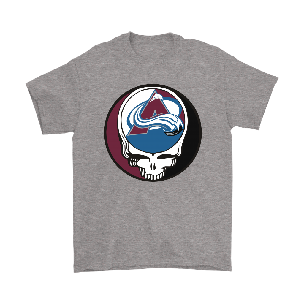 NHL - Colorado Avalanche Grateful Dead Steal Your Face Hockey NHL Shirts-T-shirt-Gildan Mens T-Shirt-Sport Grey-S-Itees Global