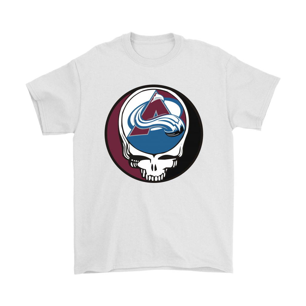 NHL - Colorado Avalanche Grateful Dead Steal Your Face Hockey NHL Shirts-T-shirt-Gildan Mens T-Shirt-White-S-Itees Global