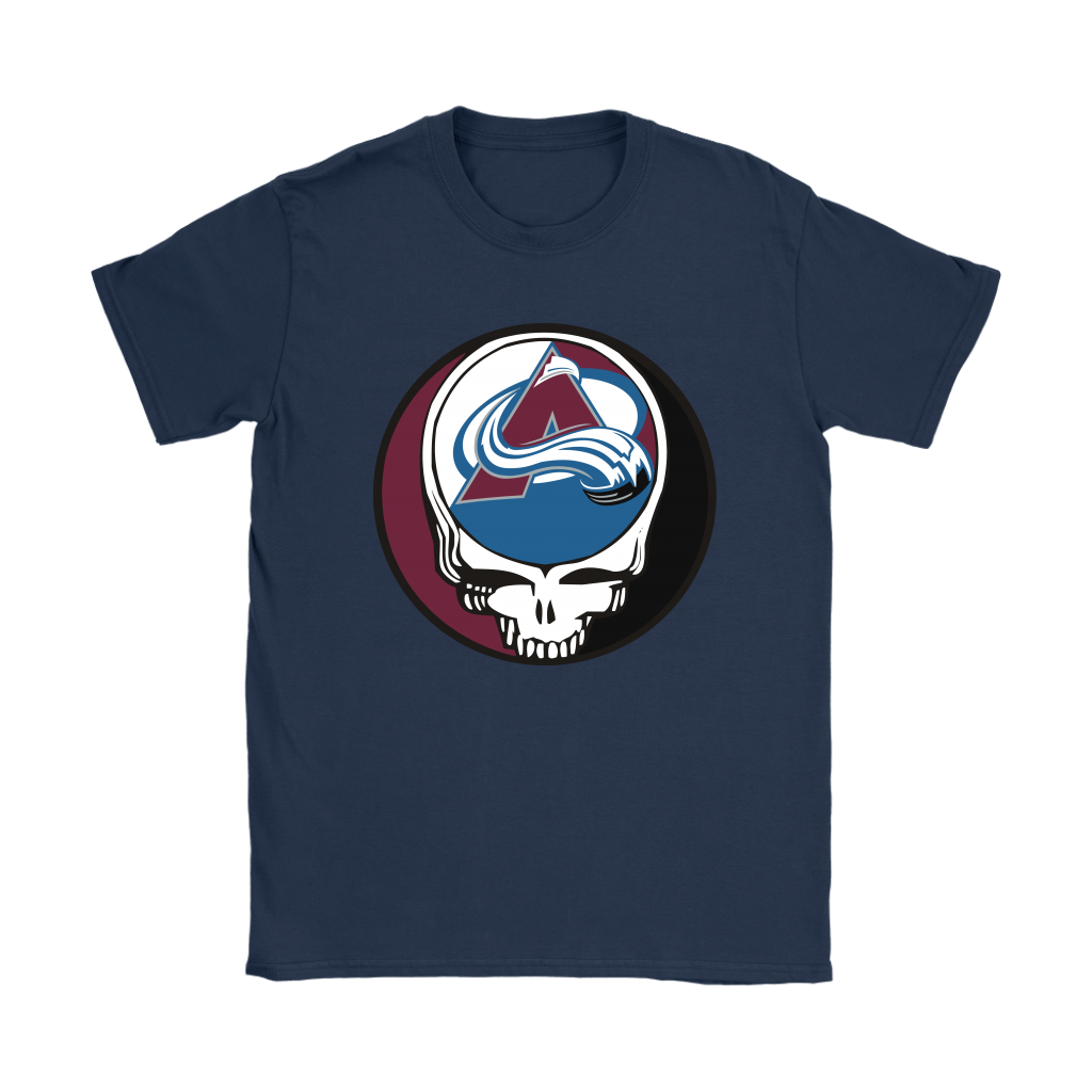 NHL - Colorado Avalanche Grateful Dead Steal Your Face Hockey NHL Shirts-T-shirt-Gildan Womens T-Shirt-Navy-S-Itees Global