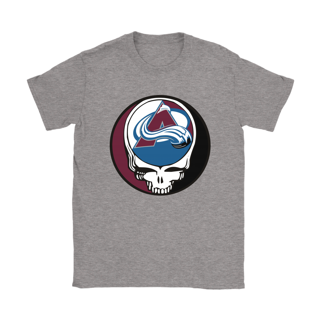NHL - Colorado Avalanche Grateful Dead Steal Your Face Hockey NHL Shirts-T-shirt-Gildan Womens T-Shirt-Sport Grey-S-Itees Global