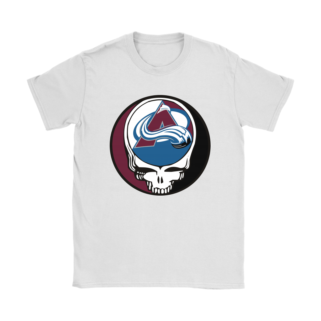 NHL - Colorado Avalanche Grateful Dead Steal Your Face Hockey NHL Shirts-T-shirt-Gildan Womens T-Shirt-White-S-Itees Global