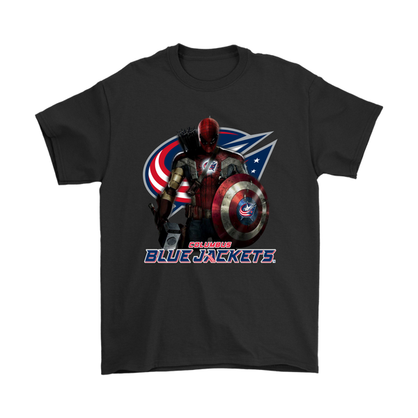 NHL – Columbus Blue Jackets Thor Captain America Spiderman Shirts-T-shirt-Gildan Mens T-Shirt-Black-S-Itees Global