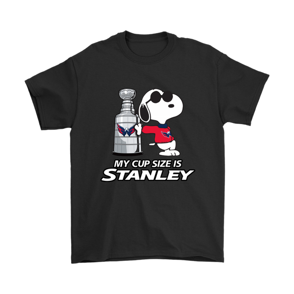 NHL - My Cup Size Is Stanley Washington Capitals Snoopy Shirts-T-shirt-Gildan Mens T-Shirt-Black-S-Itees Global