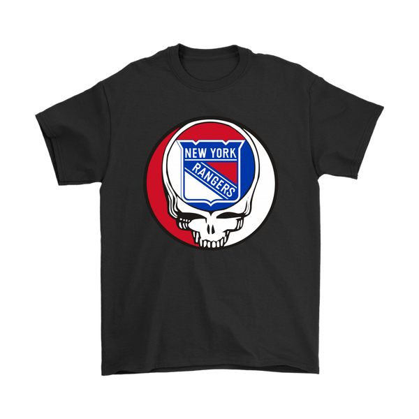 NHL - New York Rangers Grateful Dead Steal Your Face Hockey NHL Shirts-T-shirt-Gildan Mens T-Shirt-Black-S-Itees Global