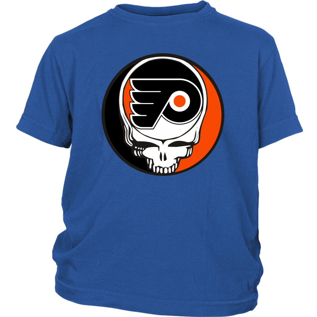 NHL - Philadelphia Flyers Grateful Dead Steal Your Face Hockey NHL Shirts-T-shirt-District Youth Shirt-Royal Blue-XS-Itees Global