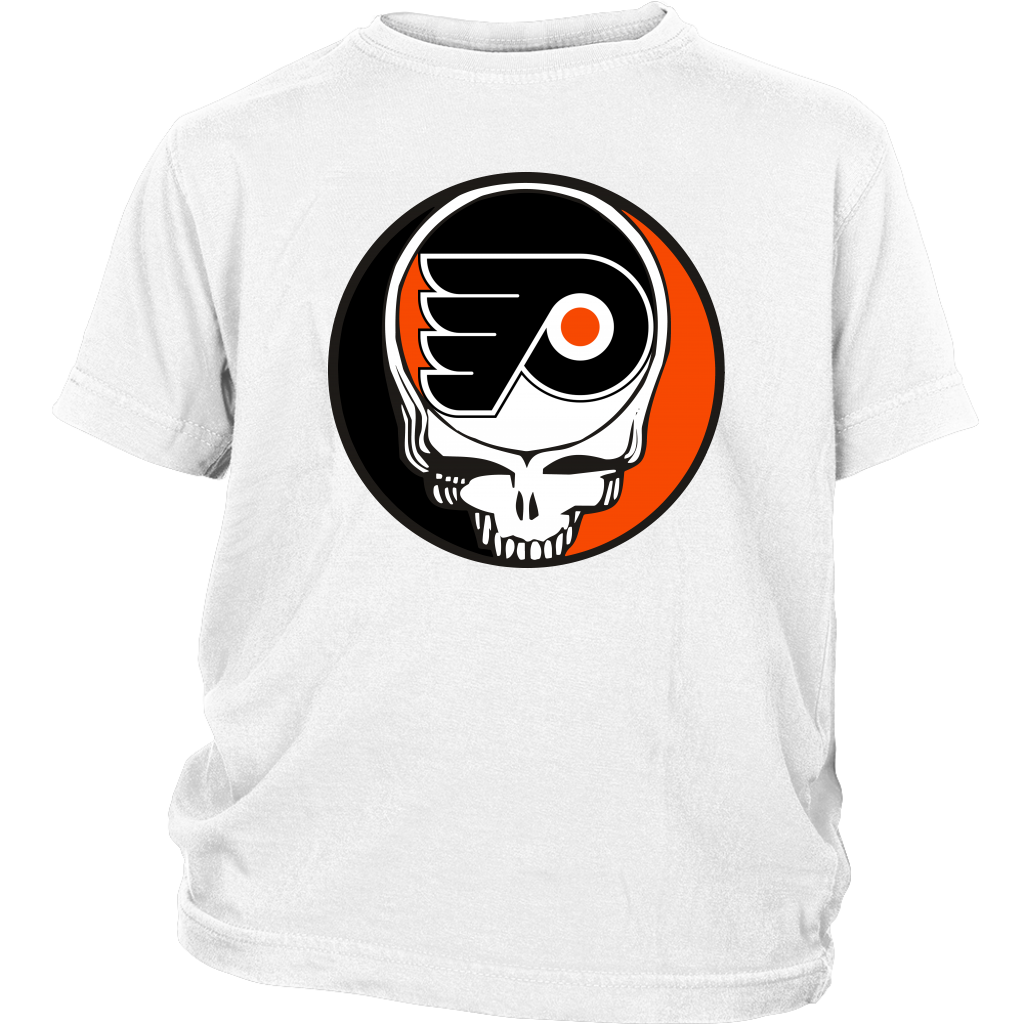 NHL - Philadelphia Flyers Grateful Dead Steal Your Face Hockey NHL Shirts-T-shirt-District Youth Shirt-White-XS-Itees Global