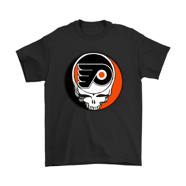 NHL - Philadelphia Flyers Grateful Dead Steal Your Face Hockey NHL Shirts-T-shirt-Gildan Mens T-Shirt-Black-S-Itees Global