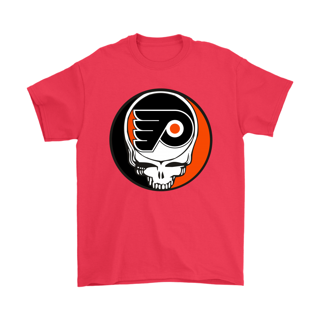 NHL - Philadelphia Flyers Grateful Dead Steal Your Face Hockey NHL Shirts-T-shirt-Gildan Mens T-Shirt-Red-S-Itees Global