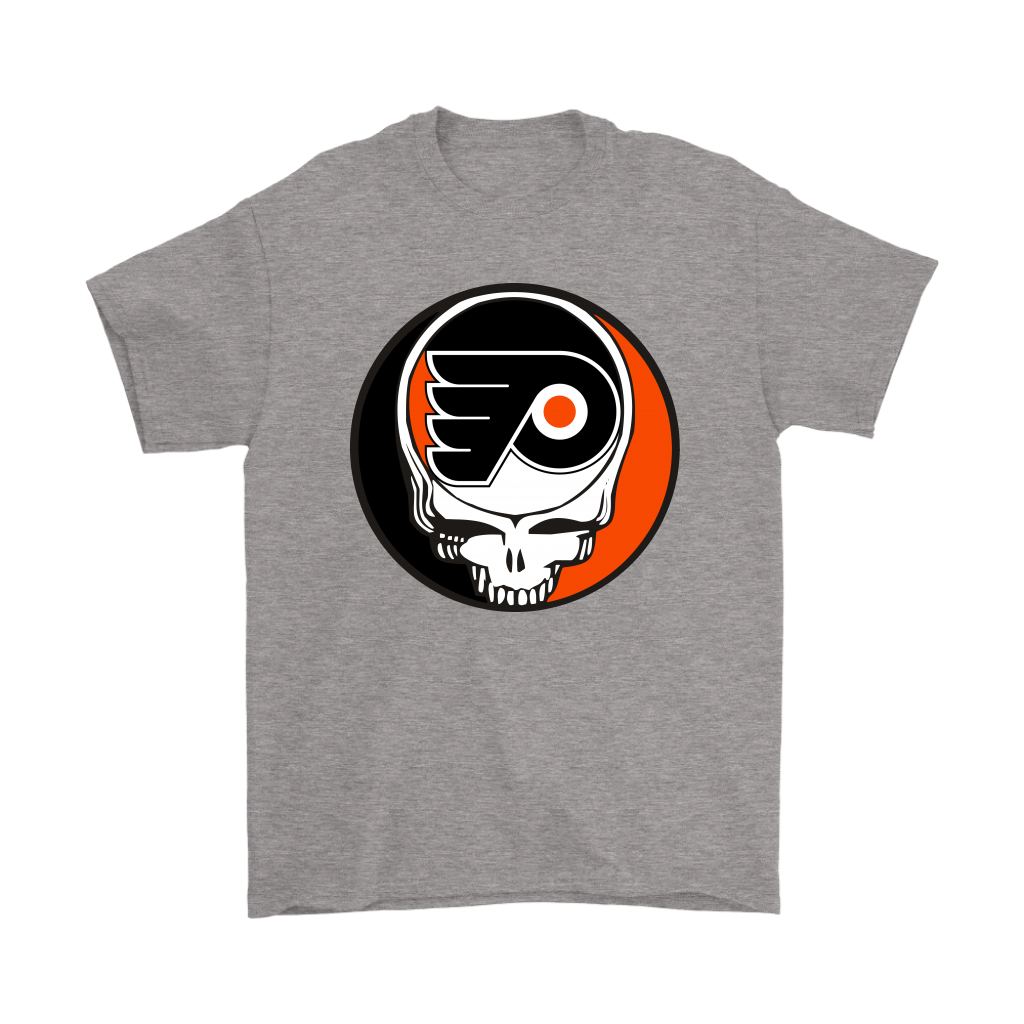 NHL - Philadelphia Flyers Grateful Dead Steal Your Face Hockey NHL Shirts-T-shirt-Gildan Mens T-Shirt-Sport Grey-S-Itees Global