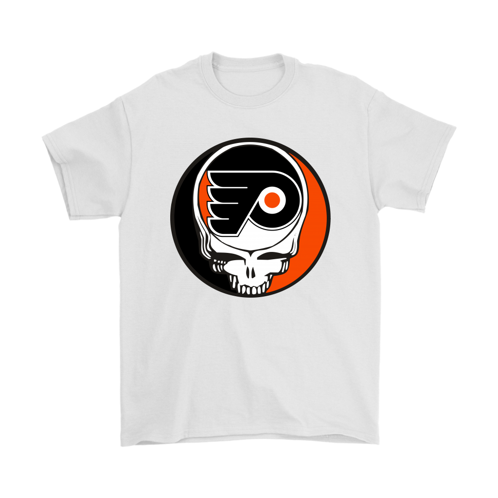 NHL - Philadelphia Flyers Grateful Dead Steal Your Face Hockey NHL Shirts-T-shirt-Gildan Mens T-Shirt-White-S-Itees Global