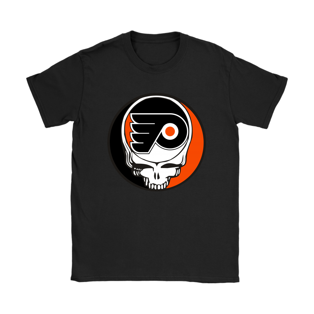 NHL - Philadelphia Flyers Grateful Dead Steal Your Face Hockey NHL Shirts-T-shirt-Gildan Womens T-Shirt-Black-S-Itees Global