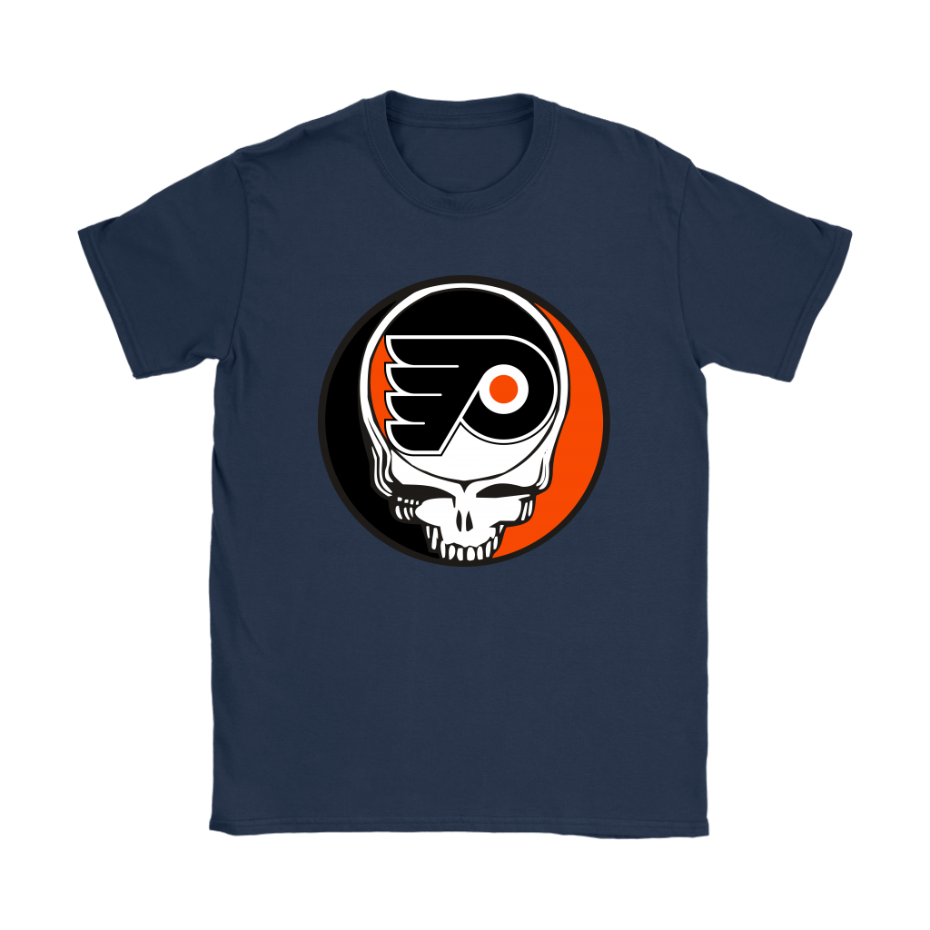 NHL - Philadelphia Flyers Grateful Dead Steal Your Face Hockey NHL Shirts-T-shirt-Gildan Womens T-Shirt-Navy-S-Itees Global
