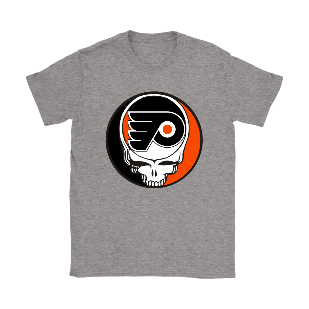 NHL - Philadelphia Flyers Grateful Dead Steal Your Face Hockey NHL Shirts-T-shirt-Gildan Womens T-Shirt-Sport Grey-S-Itees Global