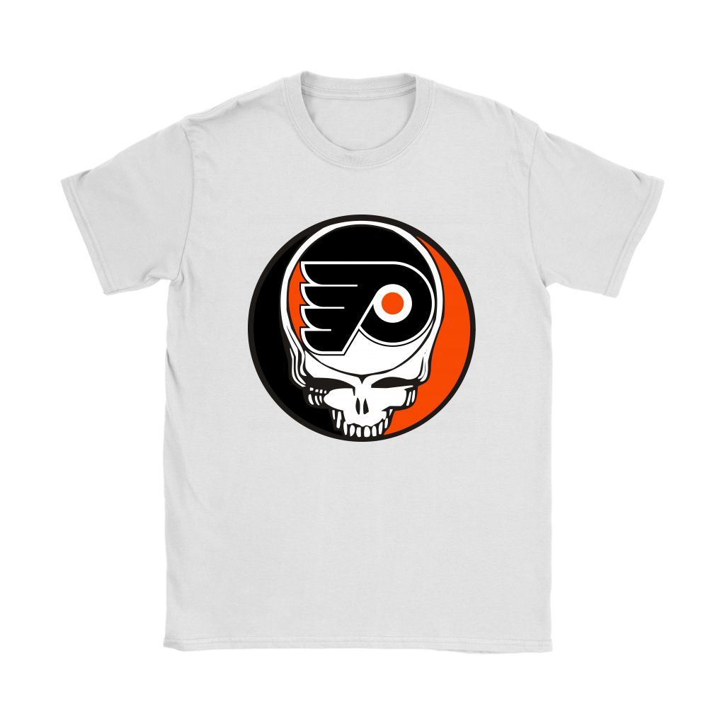 NHL - Philadelphia Flyers Grateful Dead Steal Your Face Hockey NHL Shirts-T-shirt-Gildan Womens T-Shirt-White-S-Itees Global