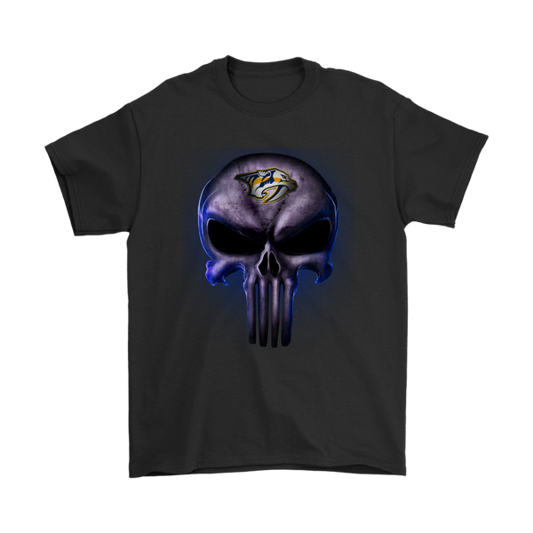 NHL - The Punisher Skull Nashville Predators Hockey NHL Shirts-T-shirt-Gildan Mens T-Shirt-Black-S-Itees Global