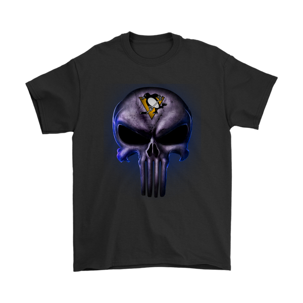 NHL - The Punisher Skull Pittsburgh Penguins Hockey NHL Shirts-T-shirt-Gildan Mens T-Shirt-Black-S-Itees Global