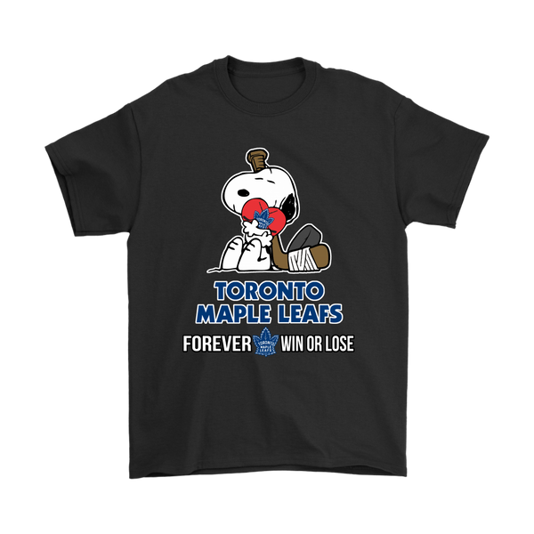 NHL – Toronto Maple Leafs Forever Win Or Lose Hockey Snoopy Shirts-T-shirt-Gildan Mens T-Shirt-Black-S-Itees Global