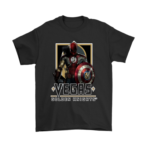 NHL – Vegas Golden Knights Thor Captain America Spiderman Shirts-T-shirt-Gildan Mens T-Shirt-Black-S-Itees Global