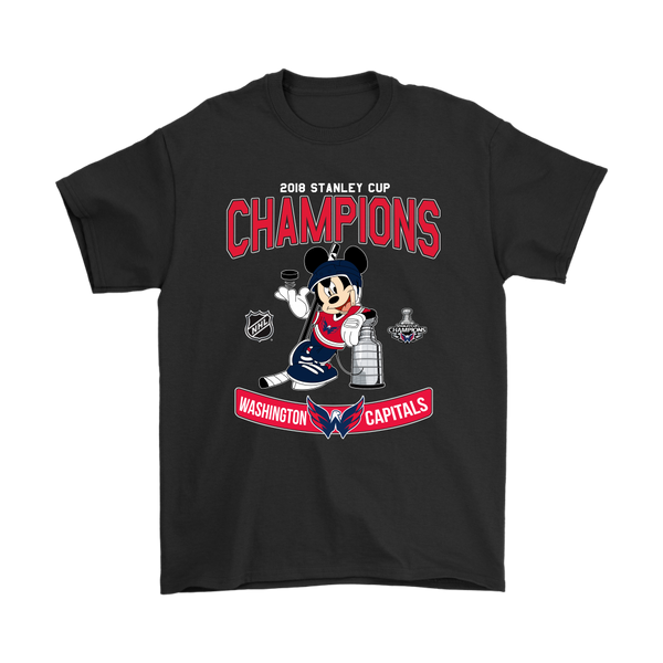 NHL – Washington Capitals 2018 Stanley Cup Mickey Mouse Shirts-T-shirt-Gildan Mens T-Shirt-Black-S-Itees Global