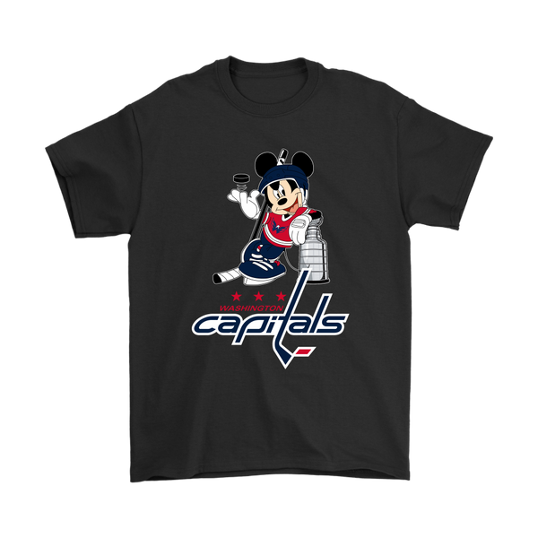 NHL - Washington Capitals Mickey Mouse With The Stanley Cup Shirts-T-shirt-Gildan Mens T-Shirt-Black-S-Itees Global